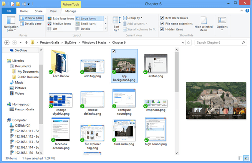 File Explorer with preview pane