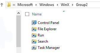 shortcuts in WinX folder
