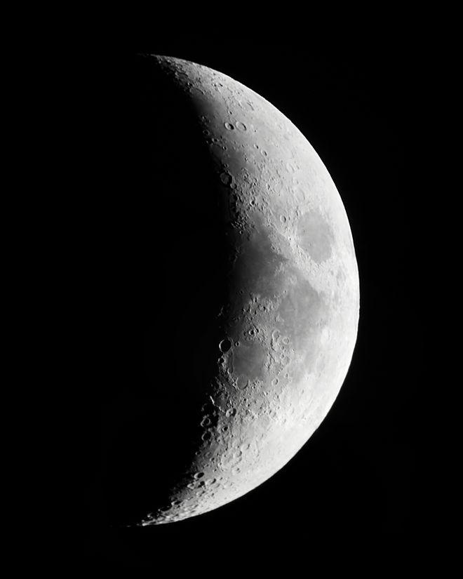 waxing crescent moon astronomy