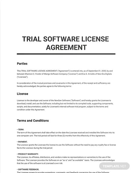 16 rows· software licence agreement. Trial Software License Agreement Template Google Docs Word Apple Pages Pdf Template Net