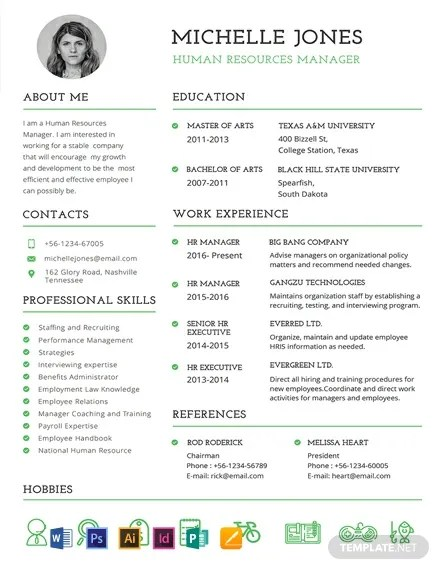 FREE Professional HR Resume And CV Template Download 607