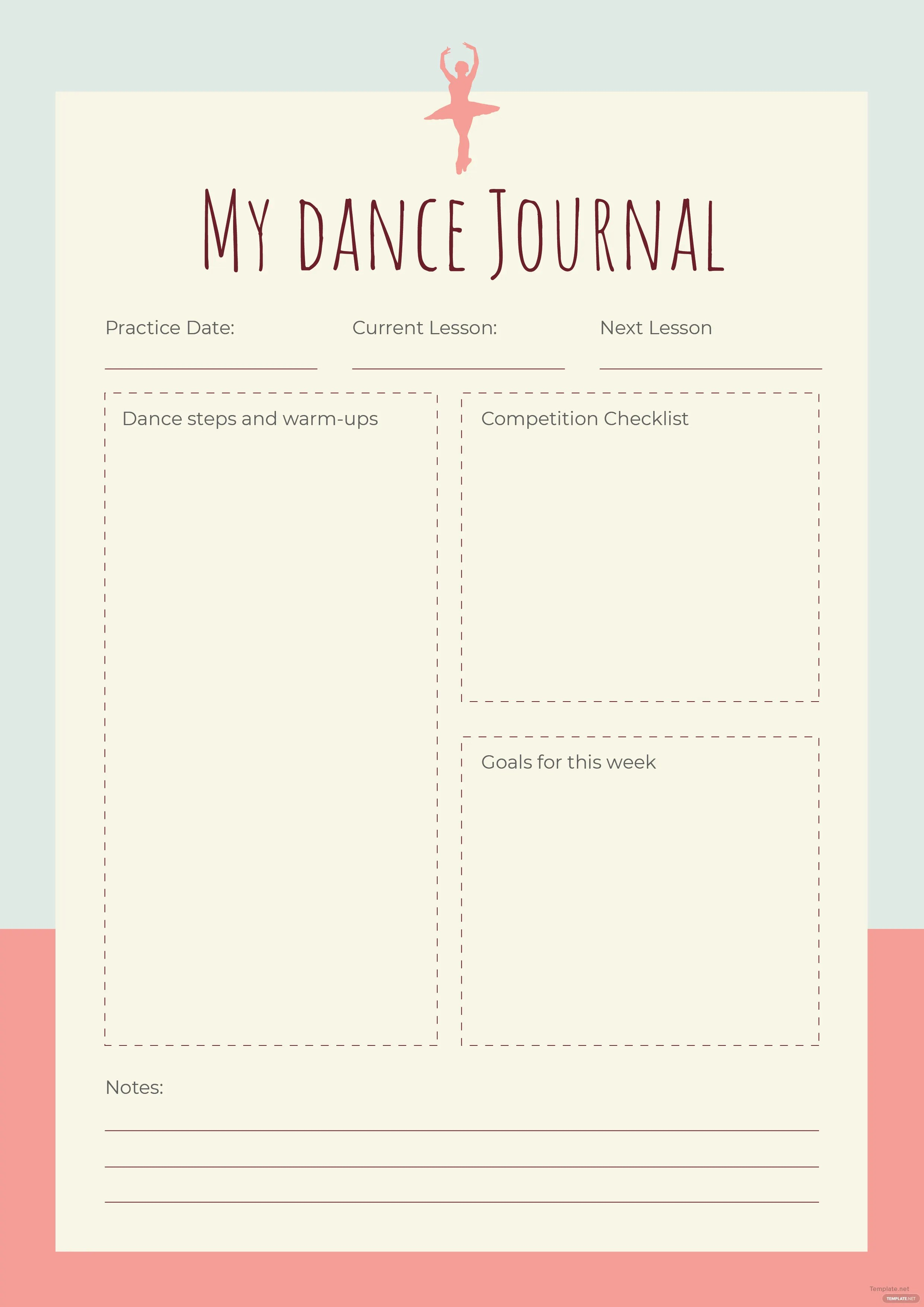 Free Dance Journal Template In Adobe Photoshop