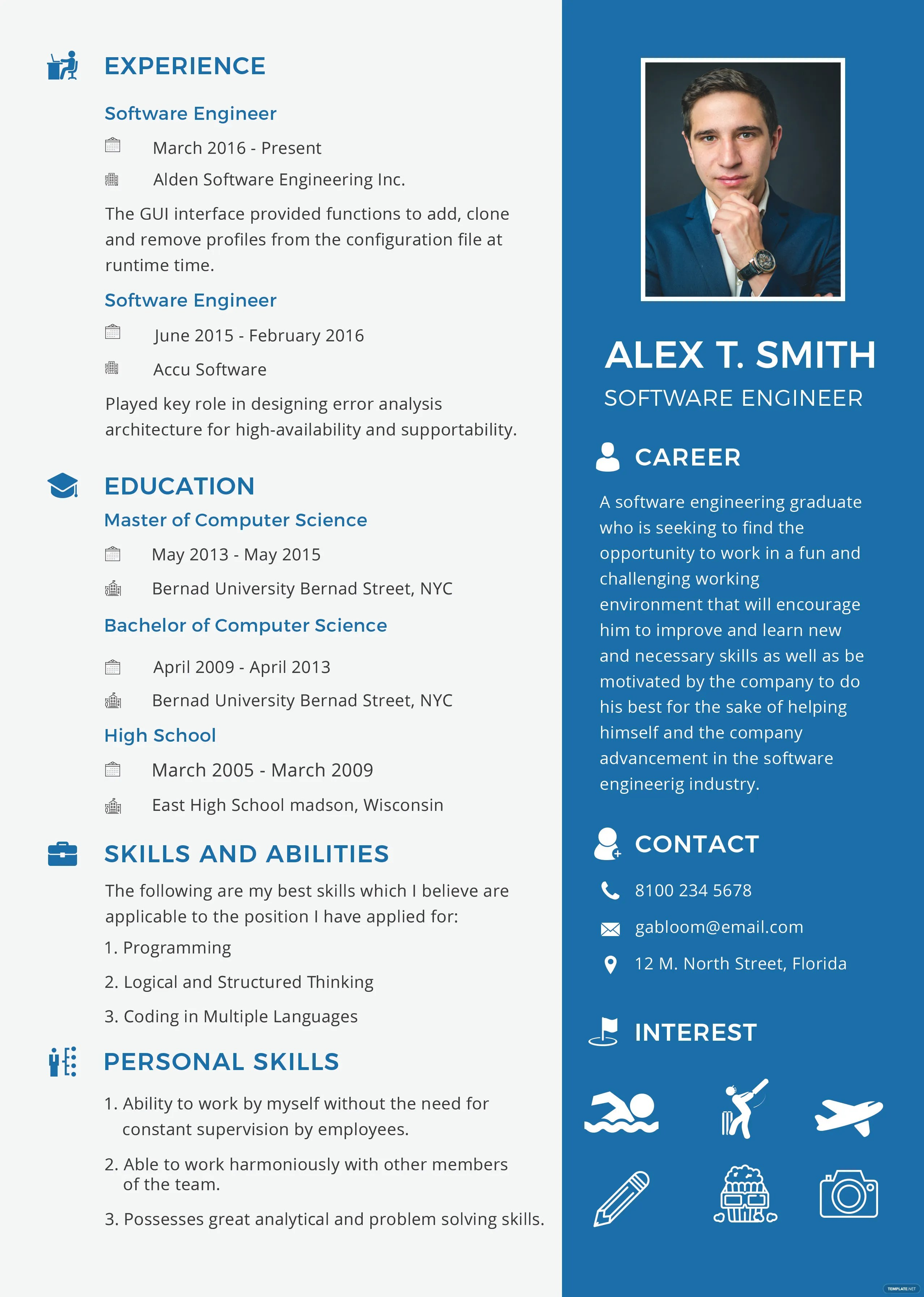 Free Resume and CV for Software Engineer Fresher Template