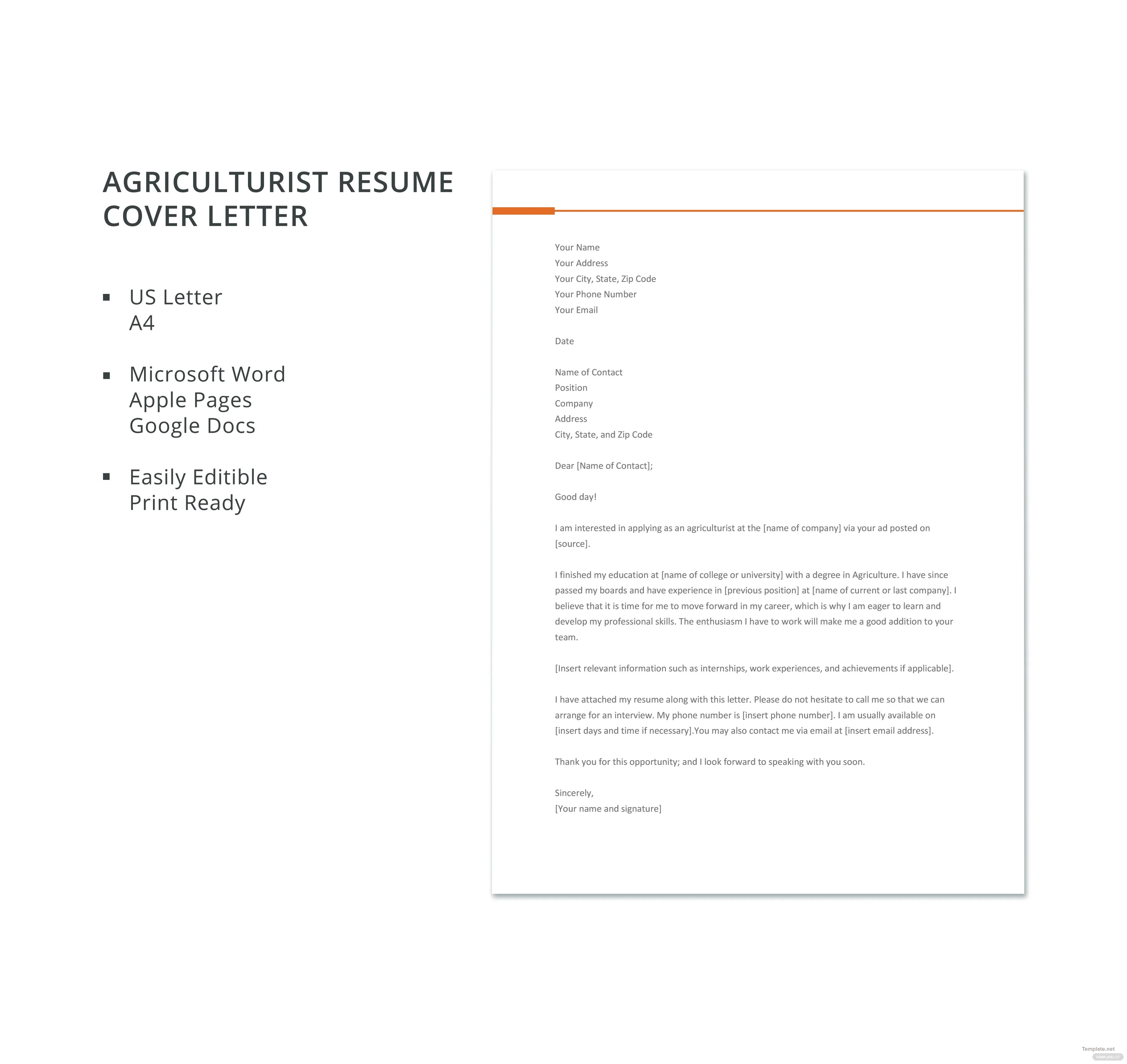 Free Agriculturist Resume Cover Letter Template in Microsoft Word Apple Pages Google Docs