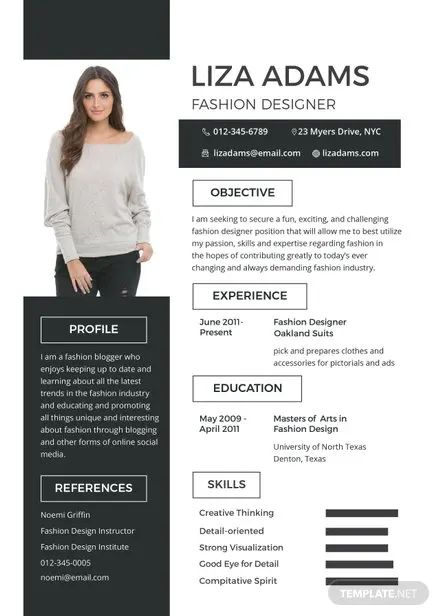 fashion designer cv