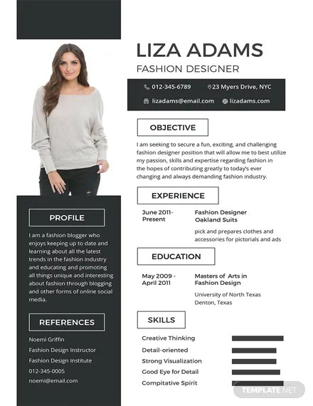 FREE Fashion Designer Resume and CV Template Download 200 Resume Templates in PSD Word