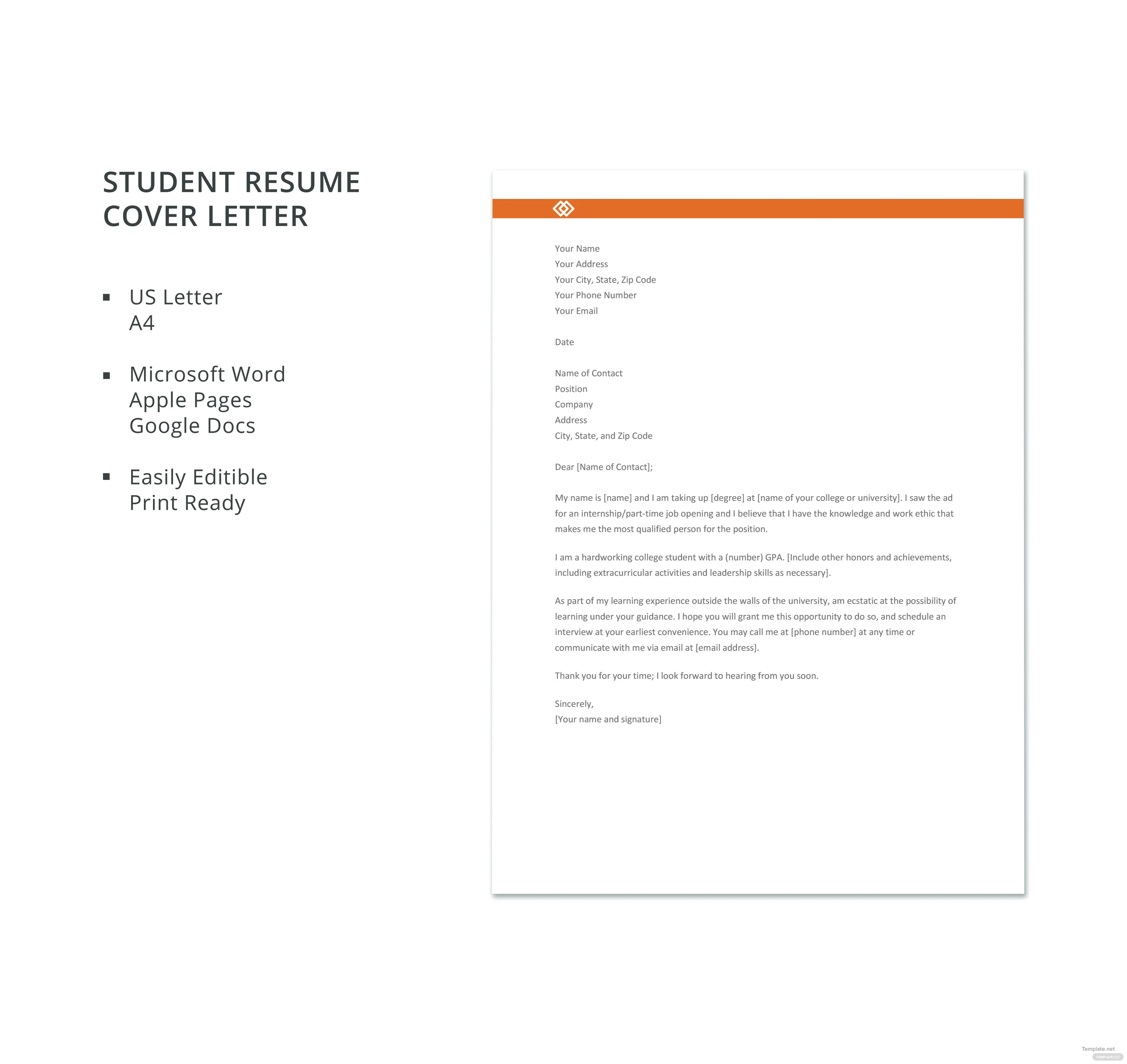 Free Student Resume Cover Letter Template in Microsoft Word Apple Pages Google Docs  Templatenet