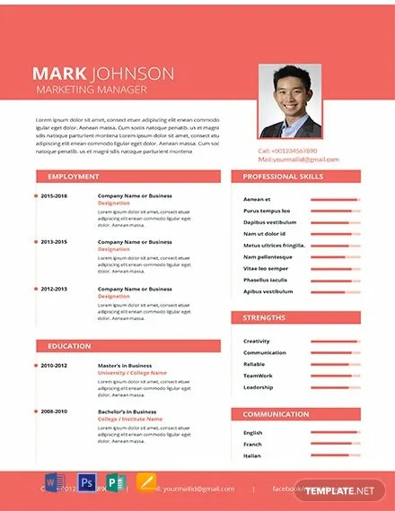 Download Template Cv Indonesia : download, template, indonesia, Marketing, Manager, Resume/CV, Template, Apple, Pages, Publisher