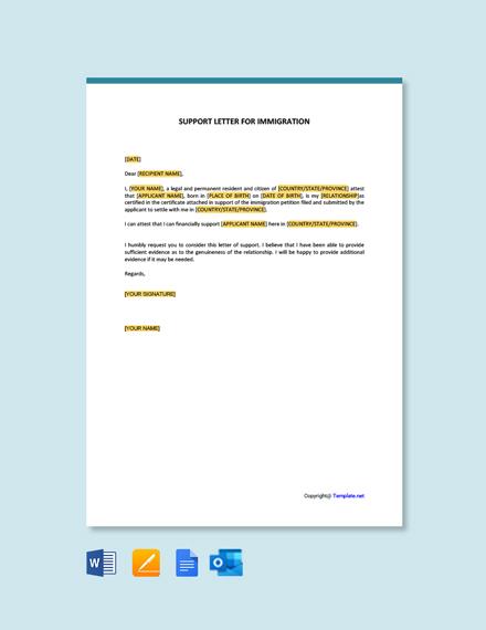 Free Affidavit Of Support Letter For