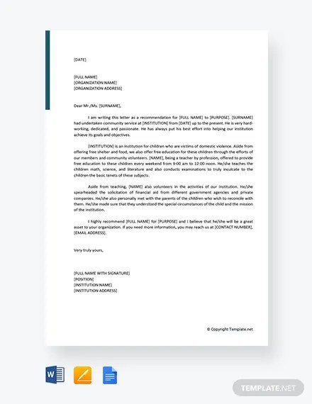 FREE Community Service Letter Of Recommendation Template Download 2538 Letters In Word Apple