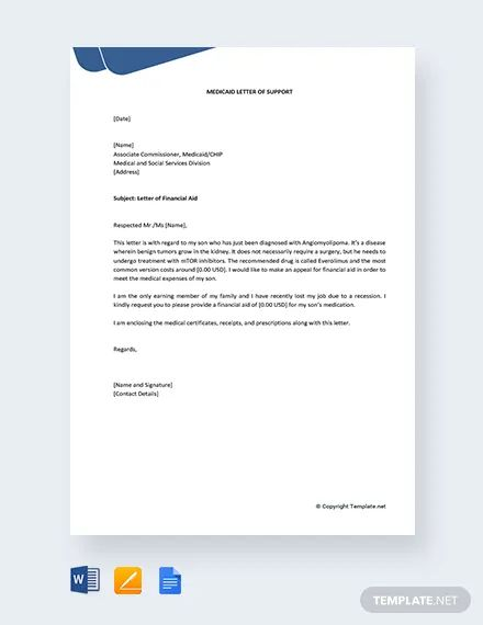 letter of support for medicaid template