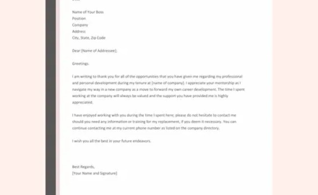 Free Thank You Letter To Boss After Resignation Template
