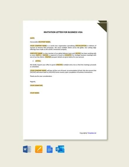job invitation letter for visa template