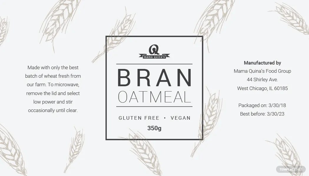 Free Food Label Template in PSD, MS Word, Publisher