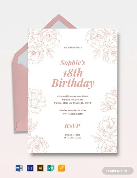 18th Birthday Invitation Template Download 241
