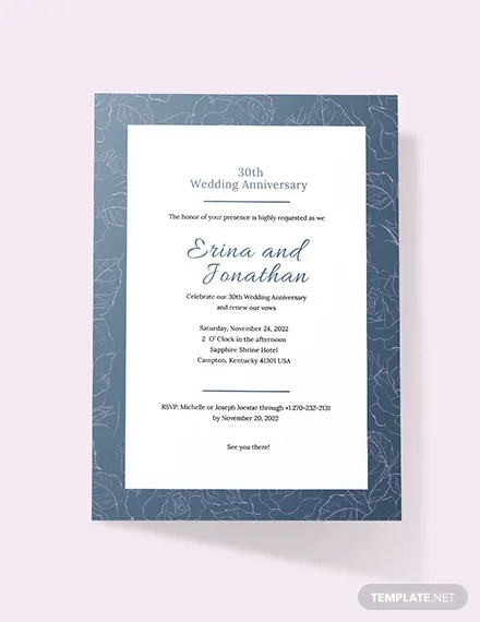 Wedding Anniversary Invitation Card Template 2