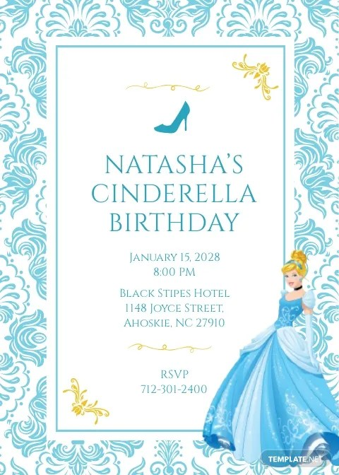 cinderella birthday invitation template