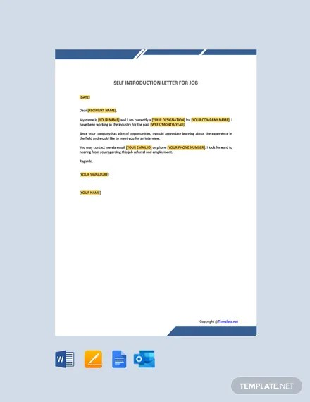 Self Introduction Letter For Job : introduction, letter, Introduction, Letter, Template, [Free, Apple, Pages, Google