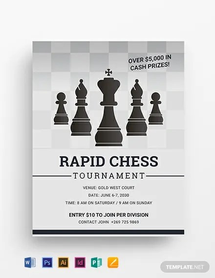 Chess Tournament Flyer Template Word PSD InDesign Apple Pages Publisher Illustrator