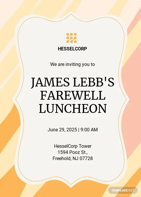 Farewell Luncheon Invitation Template [Free PDF] - Word (DOC) | PSD | Apple (MAC) Pages | Illustrator | Publisher
