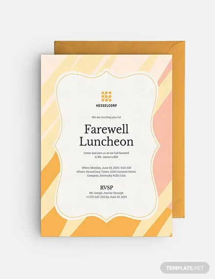 Farewell Luncheon Invitation Template - Word (DOC) | PSD | Apple (MAC) Pages | Publisher | Illustrator