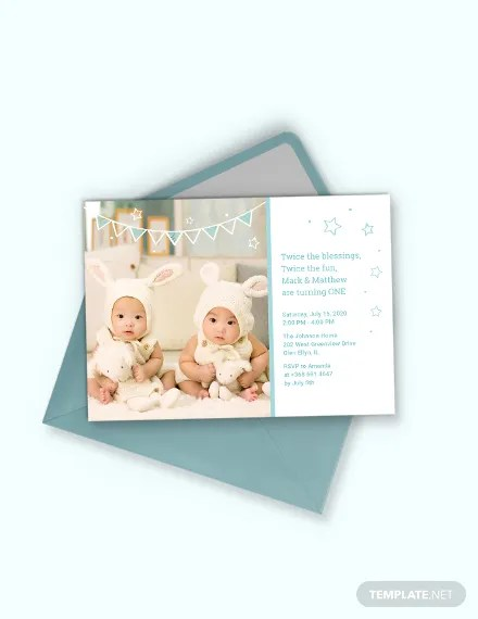 7 twin birthday invitation designs