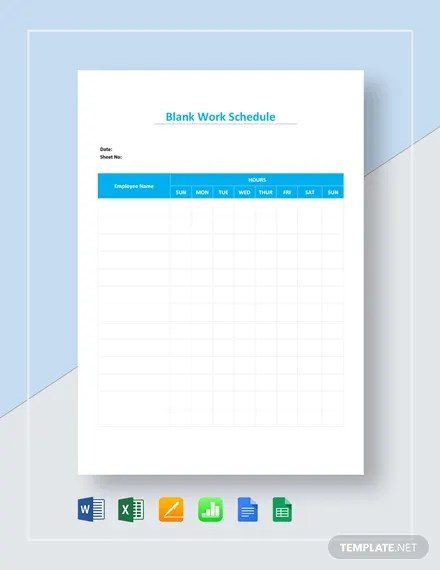 Manage homework assignments or group projects with an excel schedule template. 18 Blank Work Schedule Templates Pdf Docs Word Free Premium Templates