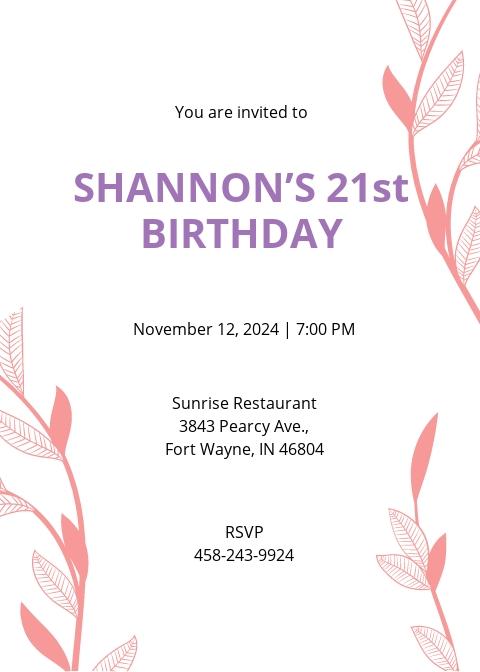 21st birthday invitation template free