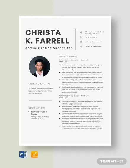 Administration Supervisor Resume Download 116 Supervisor