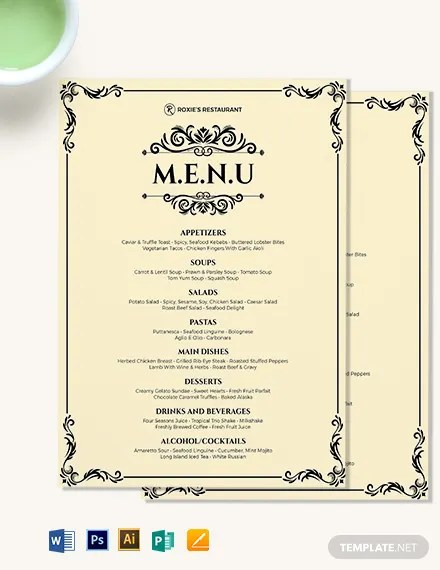 Classy Classic Dinner Menu Template Download 0 Menus In Adobe Illustrator Adobe Photoshop