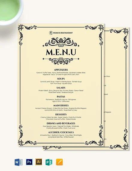 dinner menu template word