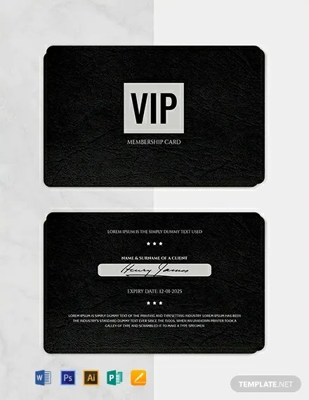 FREE Membership Card Template Word PSD InDesign Apple Pages Illustrator Publisher
