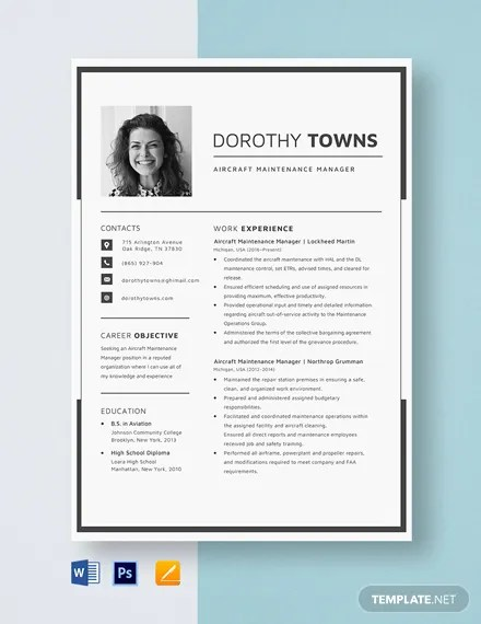 Aircraft Maintenance Manager Resume Template Download 658 Resumes in Microsoft Word Apple