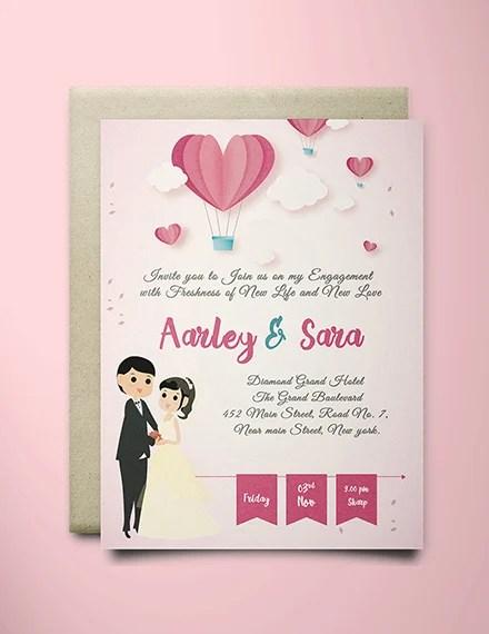 Free Elegant Engagement Invitation Card Template