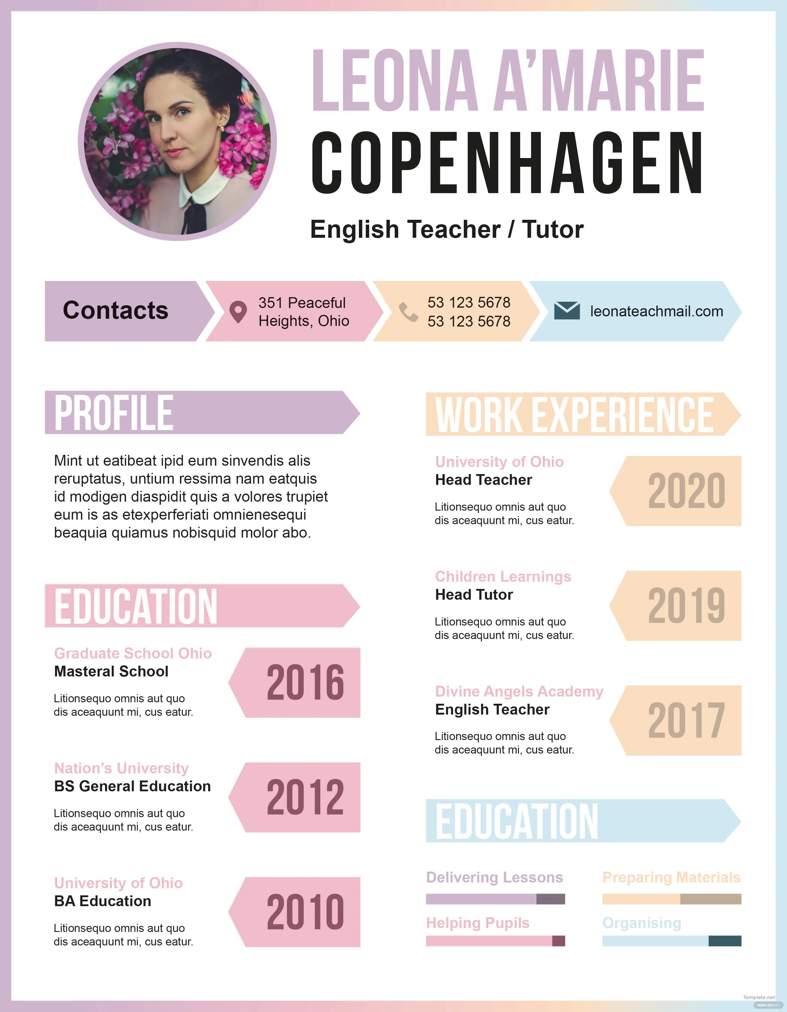Free English Teacher CV Template in Adobe InDesign  Templatenet