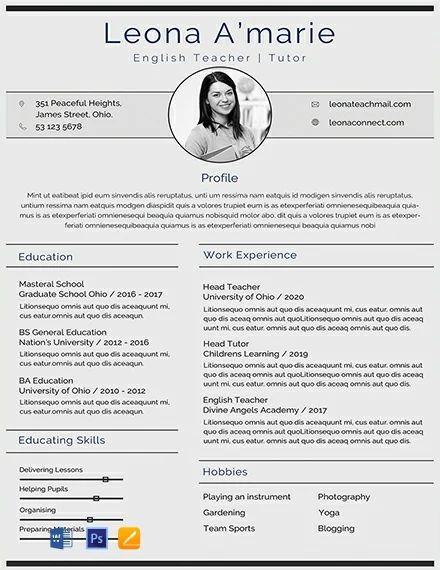 english teaching resume