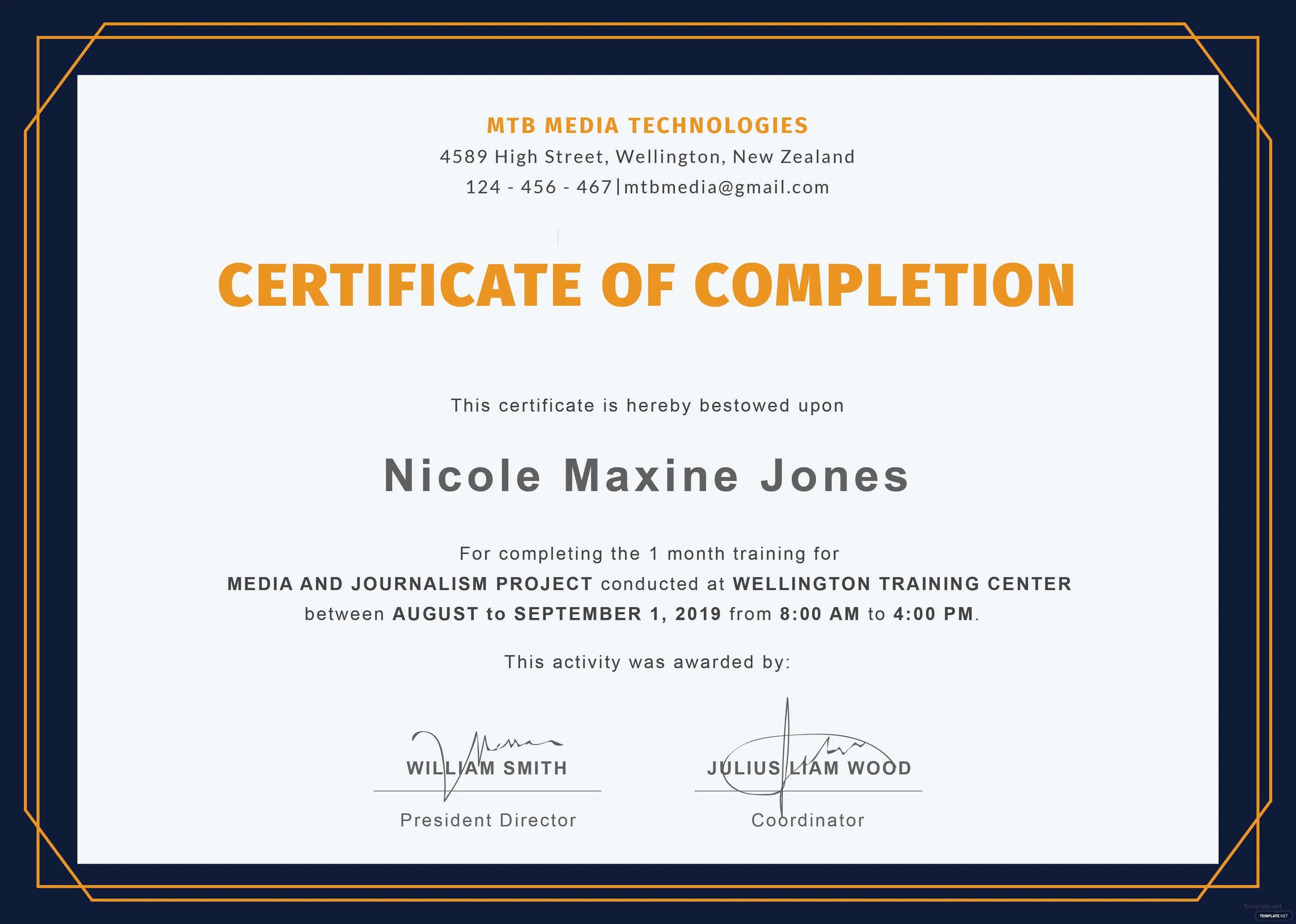 Oc Military Certificate Of Completion Template Training
