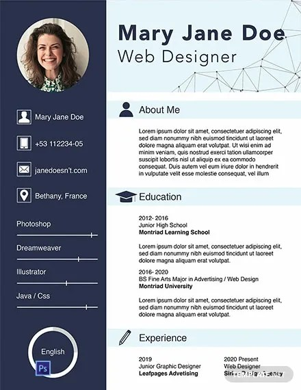 FREE Web Designer Fresher CV Template Download 1354 Resume Templates in PSD Word Publisher