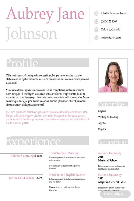 Free Teacher Resume Format in Adobe InDesign | Template.net