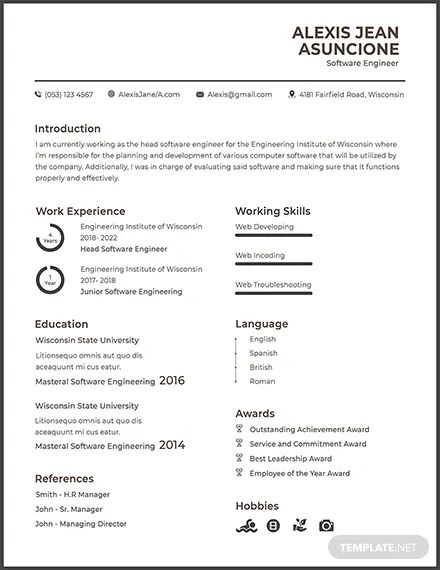 software engineer template resume