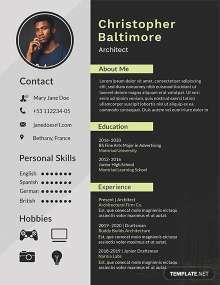 resume personal background format