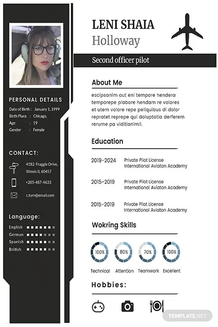 Free Pilot CV And Resume Template In Adobe Photoshop Microsoft Word Publisher Apple Pages
