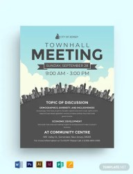 Town Hall Meeting Flyer Template Word DOC PSD InDesign Apple MAC Pages Publisher Illustrator