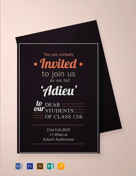 Free School Farewell Party Invitation Template