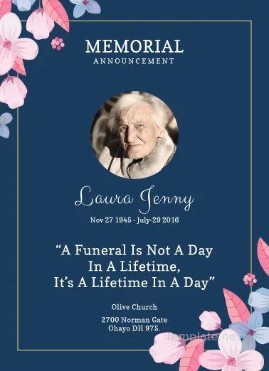 memorial service announcement