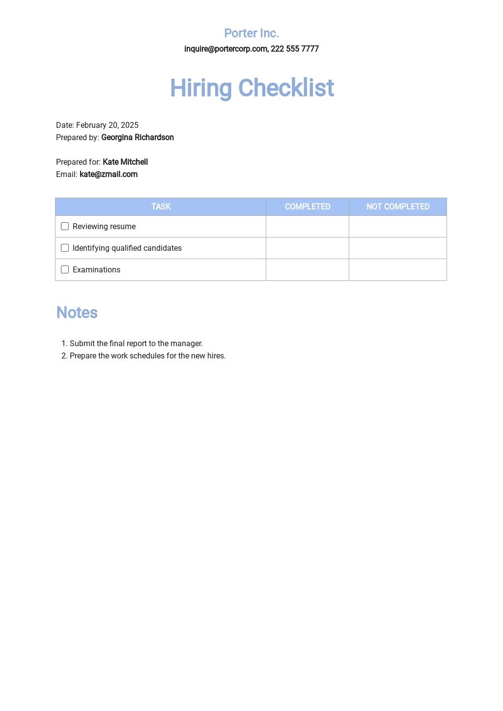 14+ FREE Hiring Checklist Templates [Edit & Download