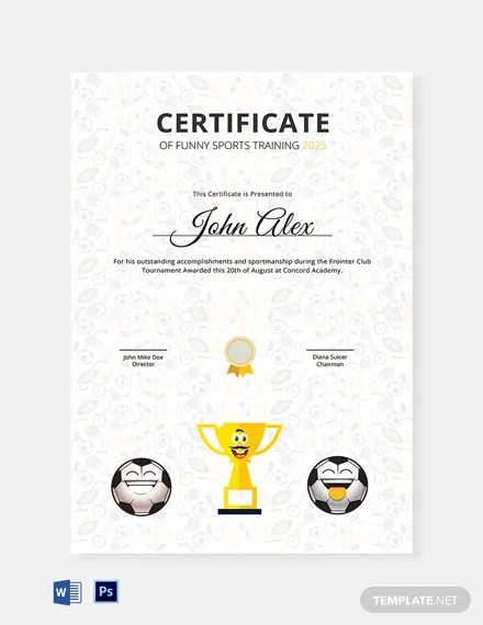 Funny Sports Training Certificate Template : Download 1