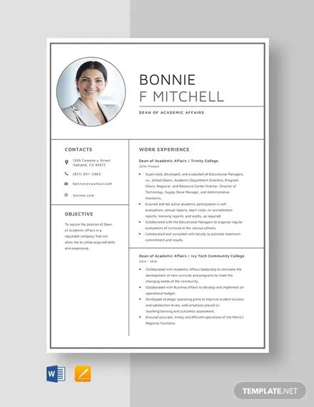 academic dean resume sample