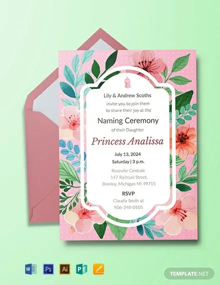 Green Paisley Baby Naming Ceremony Invitation Wording In