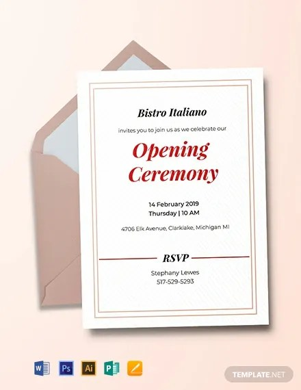 FREE Opening Ceremony Invitation Card Template Download 767 Invitations in PSD InDesign Word